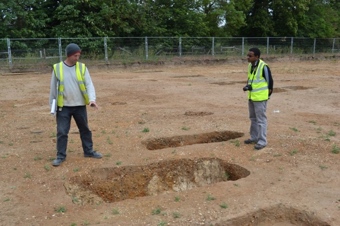 Visit to an Anglo-Saxon site at Trumpington Meadows, Cambridge. Site Director Ricky Patten of the Cambridge Archaeological Unit explains the excavation of a rare cemetery of 'bed' burials.